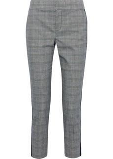 Joie Woman Kenadia Cropped Prince Of Wales Checked Cady Slim-leg Pants Gray