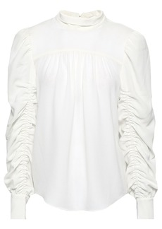 Joie Woman Kineta Ruched Hammered Crepe De Chine Blouse Off-white
