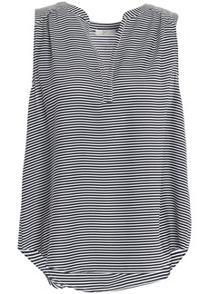 Joie Woman Kotahi Striped Crepe Top Black