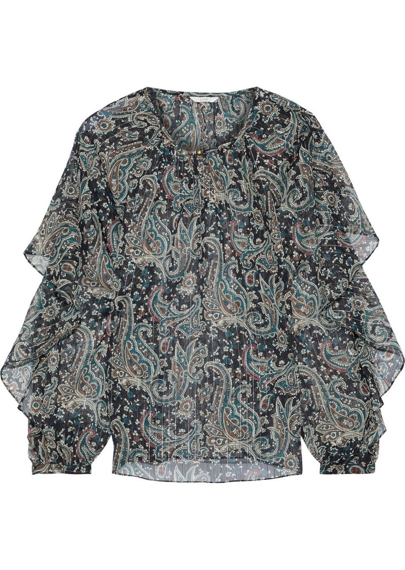 Joie Woman Kriston Ruffled Printed Metallic Gauze Blouse Dark Green