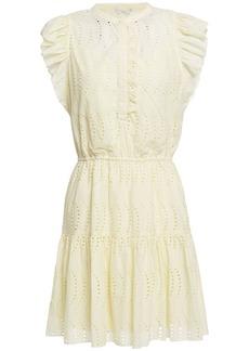 Joie Woman Krystina Ruffled Broderie Anglaise Cotton Mini Dress Cream