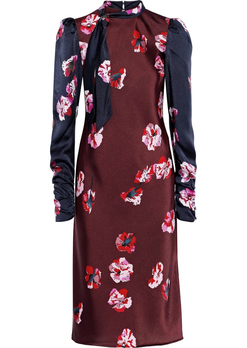 Joie Woman Kylan Tie-neck Paneled Floral-print Satin Dress Plum