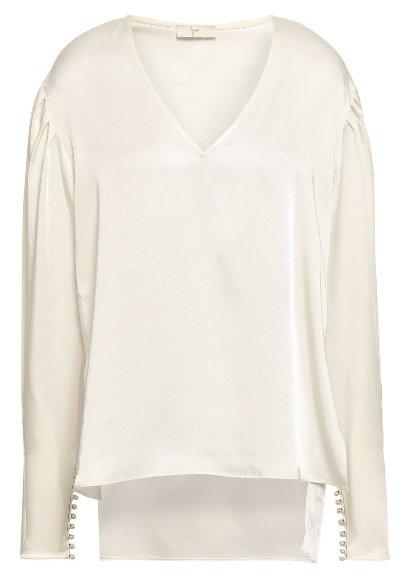 Joie Woman Kynthia Gathered Satin Blouse Off-white