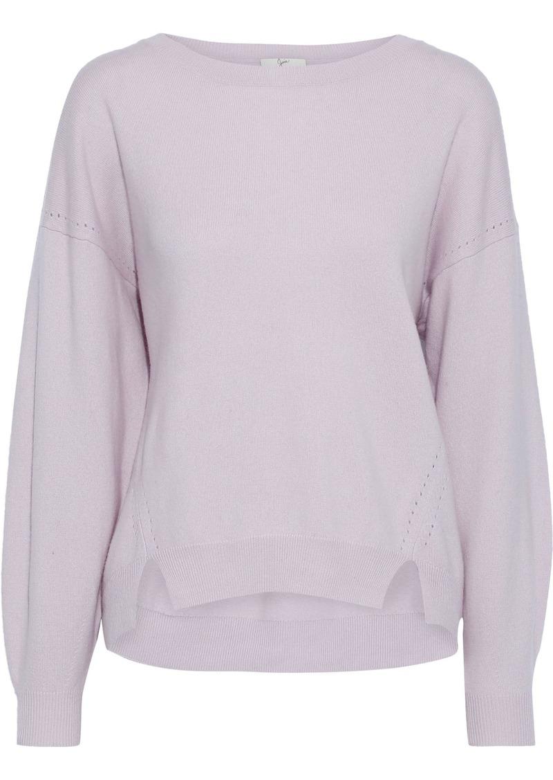 Joie Woman Kyren Pointelle-trimmed Wool Sweater Lilac