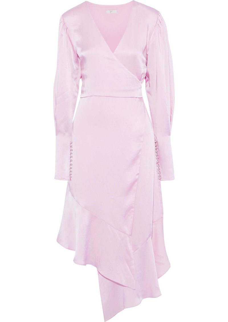 Joie Woman Kyrene Asymmetric Wrap-effect  Charmeuse Dress Lilac