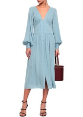 Joie Woman Kyria Gathered Silk Crepe De Chine Midi Dress Sky Blue