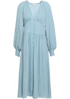 Joie Woman Kyria Gathered Silk Crepe De Chine Midi Dress Sky Blue