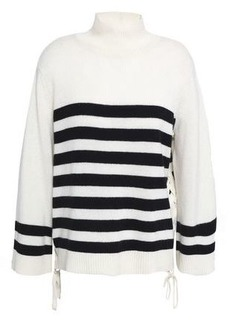 Joie Woman Lantz Lace-up Striped Wool And Cashmere-blend Sweater Off-white