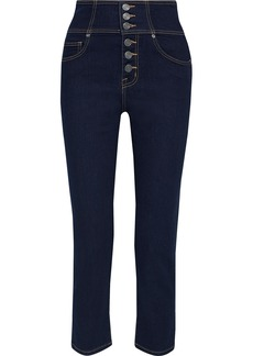 Joie Woman Laurelle Cropped High-rise Straight-leg Jeans Indigo