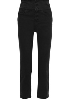 Joie Woman Laurelle Cropped High-rise Straight-leg Pants Black