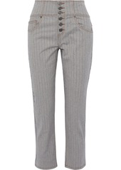 Joie Woman Laurelle Pinstriped Stretch Cotton-twill Straight-leg Pants Gray