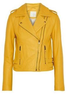 Joie Woman Leolani Leather Biker Jacket Marigold