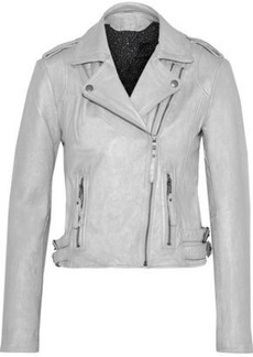 Joie Woman Leolani Metallic Leather Biker Jacket Silver