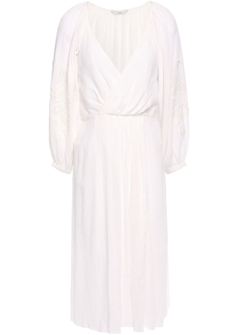 Joie Woman Lidayne Wrap-effect Embroidered Cotton-gauze Dress Off-white