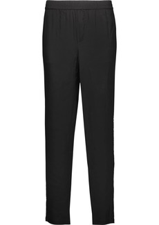 Joie Woman Lillia Sequin-embellished Silk-satin Tapered Pants Black