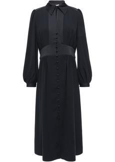 Joie Woman Linaeve Satin-trimmed Crepe De Chine Midi Dress Black