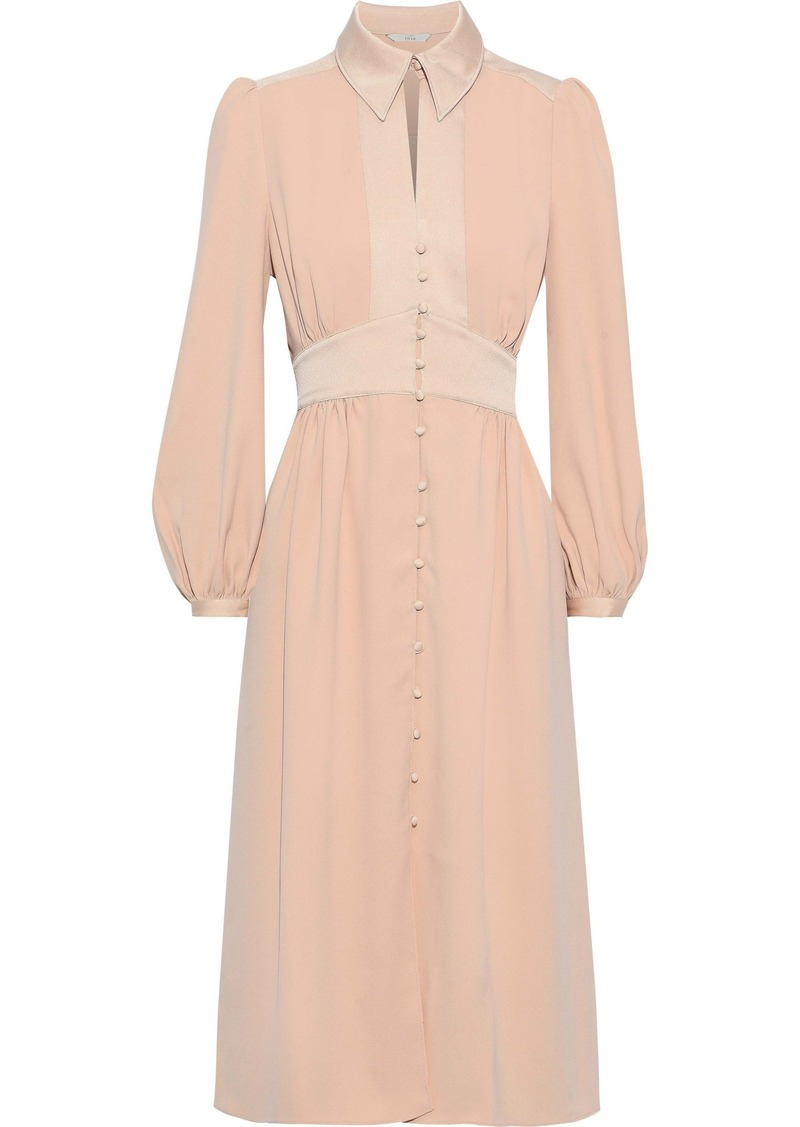 Joie Woman Linaeve Satin-trimmed Crepe De Chine Midi Dress Blush