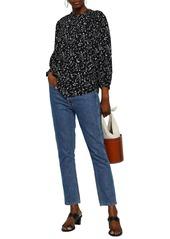 Joie Woman Lissane Shirred Floral-print Crepe De Chine Blouse Black