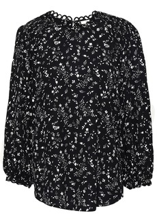 Joie Woman Lissane Shirred Floral-print Crepe De Chine Blouse Black