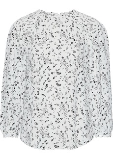 Joie Woman Lissane Shirred Floral-print Crepe De Chine Blouse Ivory