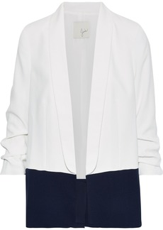 Joie Woman Lollasa B Ruched Two-tone Crepe Blazer White
