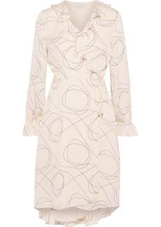 Joie Woman Lynley Ruffle-trimmed Printed Crepe De Chine Wrap Dress Peach