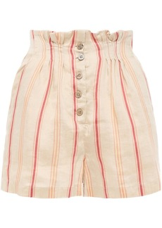 Joie Woman Maeline Button-detailed Striped Linen-blend Shorts Beige