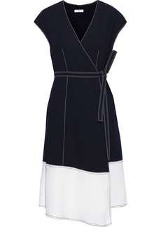 Joie Woman Mahesa Two-tone Crepe Wrap Dress Midnight Blue