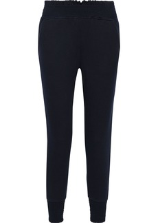 Joie Woman Makelina Shirred French Pima Cotton-terry Track Pants Midnight Blue