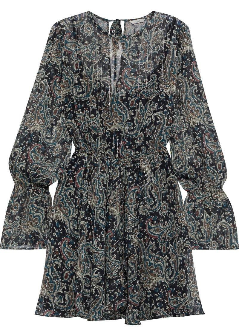 Joie Woman Manning Belted Printed Metallic Georgette Mini Dress Dark Green