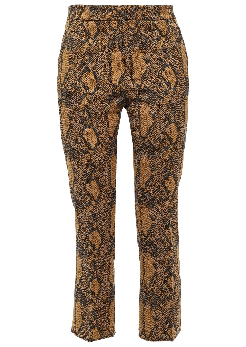 Joie Woman Marcena B Cropped Cotton-blend Snake-jacquard Slim-leg Pants Animal Print