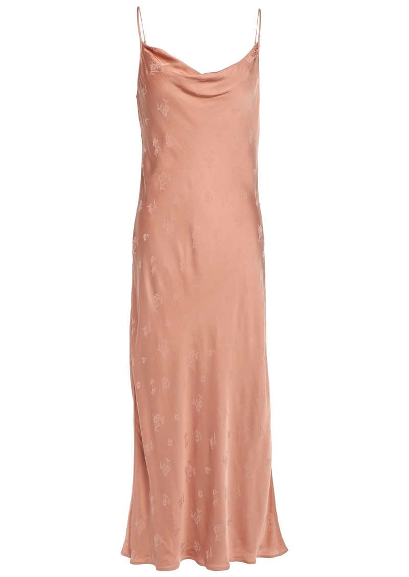 Joie Woman Marcenna B Draped Satin-jacquard Midi Slip Dress Peach