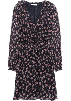 Joie Woman Marelle Ruffle-trimmed Floral-print Silk-georgette Mini Dress Midnight Blue