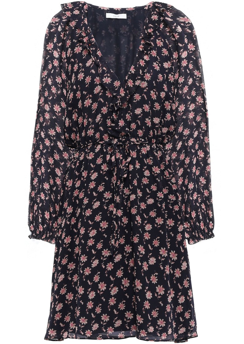 Joie Woman Marelle Ruffle-trimmed Floral-print Silk-georgette Mini Dress Midnight Blue
