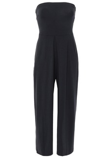 Joie Woman Marischal Cropped Strapless Shirred Stretch-jersey Jumpsuit Midnight Blue