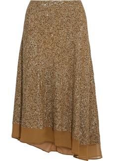 Joie Woman Marsie Asymmetric Sequined Georgette Midi Skirt Taupe
