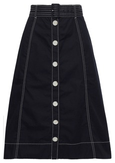 Joie Woman Mayaly Flared Belted Cotton-twill Skirt Midnight Blue