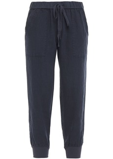 Joie Woman Mellina Cropped Linen Tapered Pants Midnight Blue