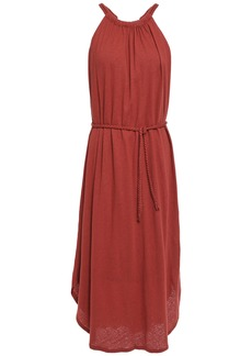 Joie Woman Meribah Belted Linen And Cotton-blend Jersey Midi Dress Brick