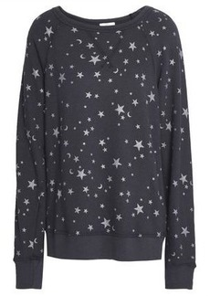 Joie Woman Metallic Printed French Cotton-terry Sweatshirt Charcoal