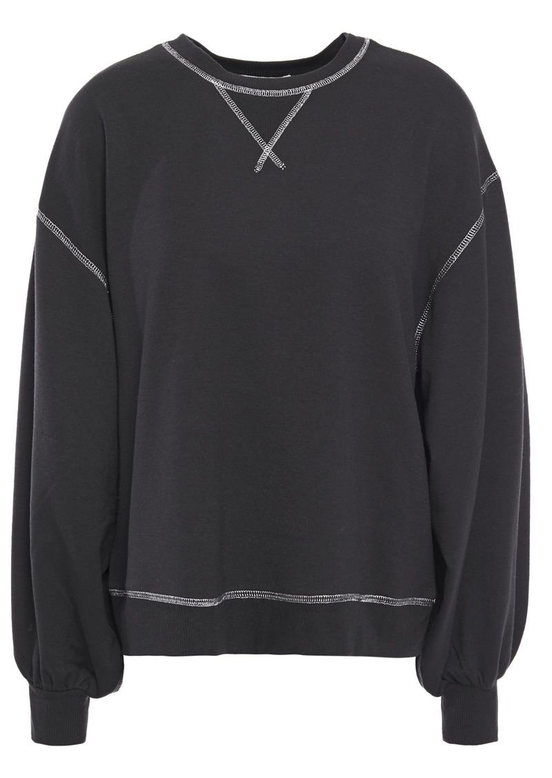 Joie Woman Metallic-trimmed Jersey Sweatshirt Black