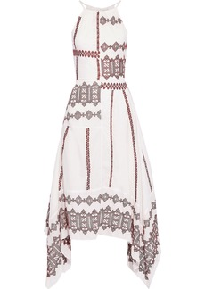 Joie Woman Asymmetric Embroidered Cotton-poplin Midi Dress White