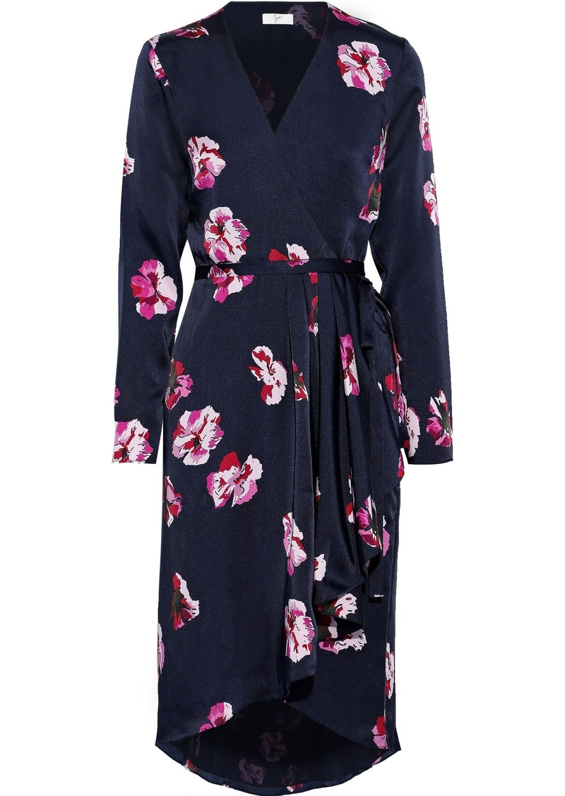 Joie Woman Miltona Floral-print Satin Wrap Dress Midnight Blue