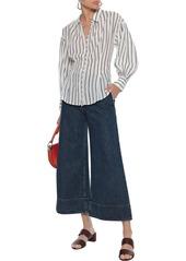 Joie Woman Minya Gathered Striped Cotton-blend Shirt Ivory