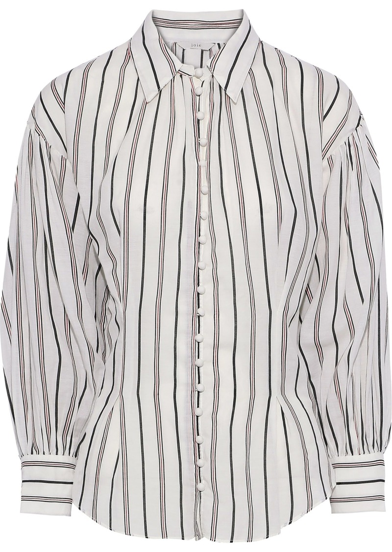 Joie Woman Minya Gathered Striped Cotton-blend Shirt Ivory