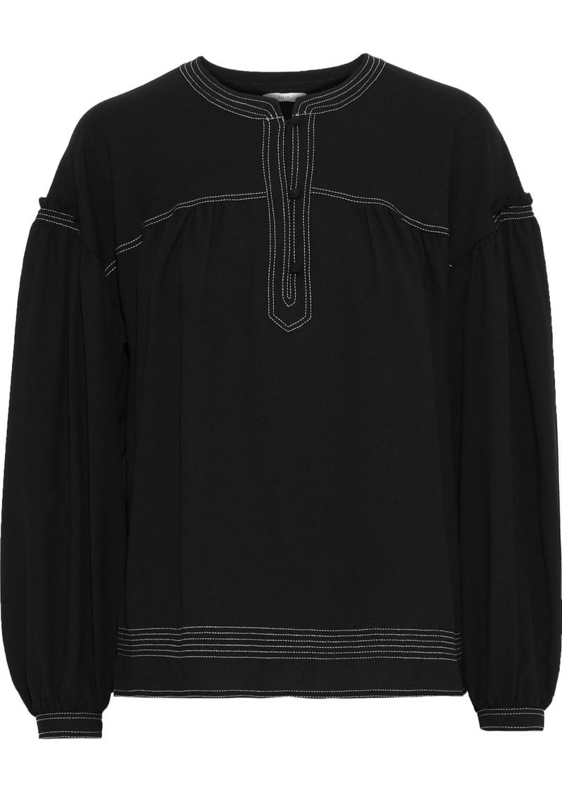 Joie Woman Mirna Gathered Crepe Blouse Black