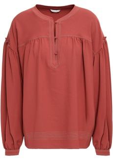 Joie Woman Mirna Gathered Crepe Blouse Brick