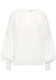 Joie Woman Mitney Embroidered Cotton-gauze Blouse Off-white