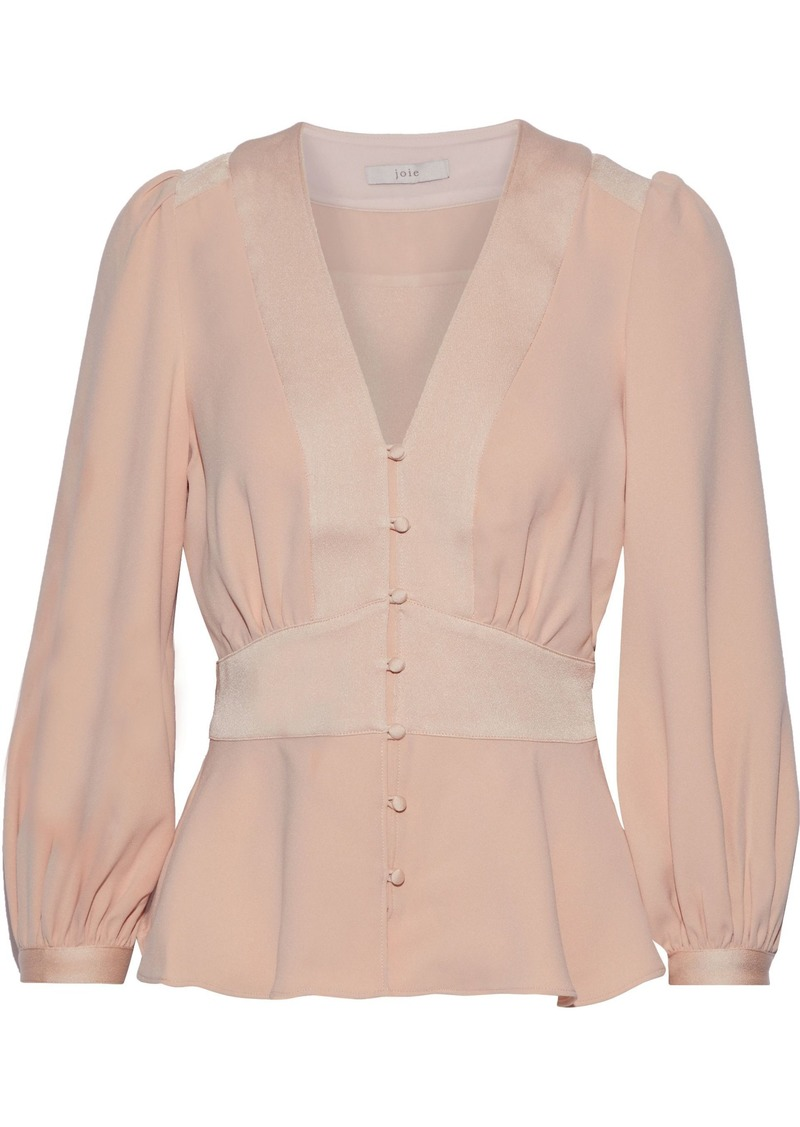 Joie Woman Monisha Button-detailed Satin-paneled Crepe Blouse Blush