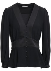 Joie Woman Monisha Button-detailed Satin-paneled Crepe Blouse Black